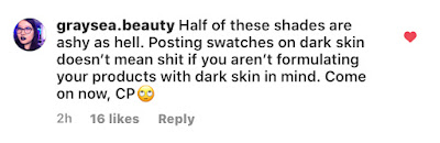 Screenshot of ColourPop Wild Nothing Collection Instagram comment