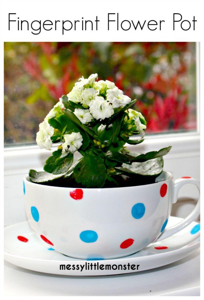 fingerprint cup flower pot craft