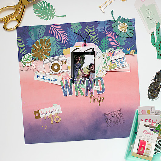 'WKND trip' Scrapbooking Layout with Oasis I Crate Paper