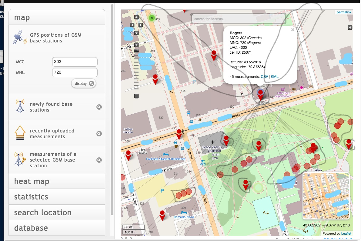 it maps all over the park to some other apartment buildings about 1 km north all over ryerson university campus as well as northwest