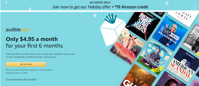 Audible Plus Membership - $4.95 for 6 months and get a free $10 Amazon Gift Card... Ends in a few short hours