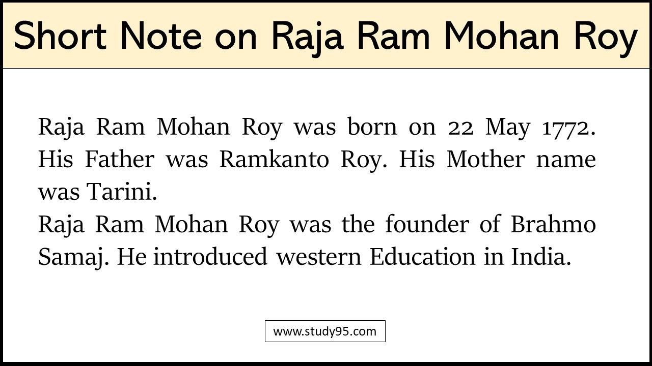 Write Short Note on Raja Ram Mohan Roy
