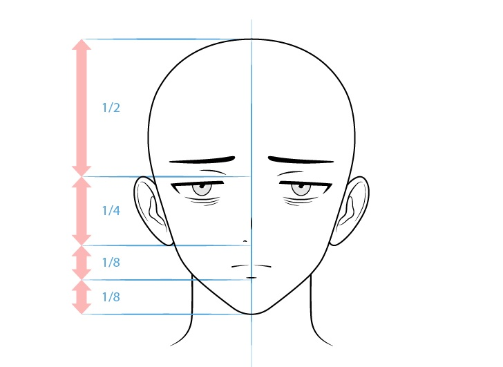 Anime karakter laki-laki penyendiri menggambar wajah lelah