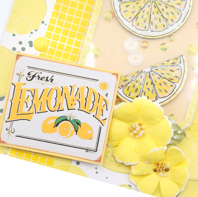 Gecko Galz Fresh Lemonade Digital ClipArt on a Lemonade Tag with Yellow Paper Flowers