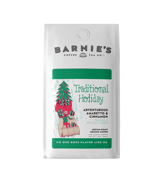 A holiday package of coffee that is Amaretto and Cinnamon flavored