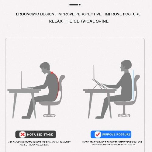 This ergonomic Portable and Foldable Laptop Stand reduce spine and eye strain.यह एर्गोनोमिक पोर्टेबल और फोल्डेबल लैपटॉप स्टैंड रीढ़ और आंखों के तनाव को कम करता है। yah ergonomik portebal aur pholdebal laipatop staind reedh aur aankhon ke tanaav ko kam karata hai.