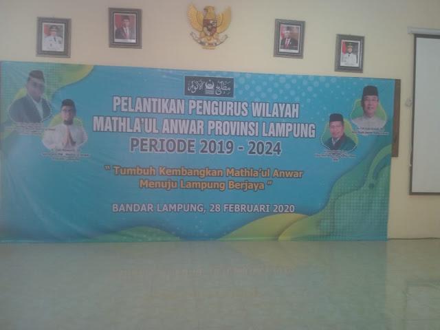 Viral Petang (28/02/2020) Bandar Lampung -- Panitia persiapan pelantikan Pengurus Wilayah Mathla'ul Anwar periode 2019 – 2024 menggelar acara pelantikan tersebut pada Jum'at (28/02).