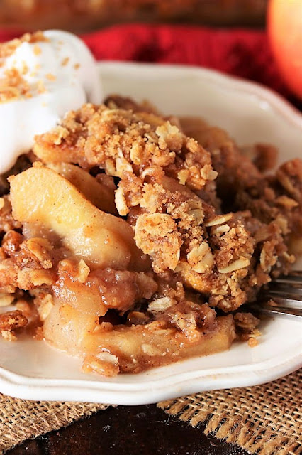 Serving of Mom's Apple Crisp On a Dessert Plate Image