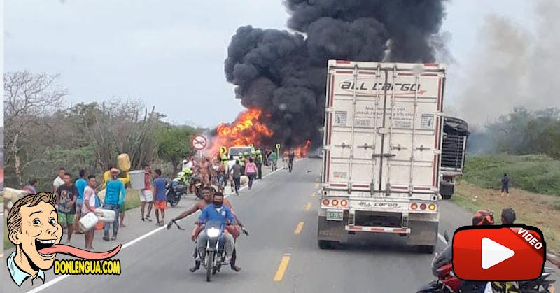 7 saqueadores muertos y 40 quemados al explotar un camión volcado lleno de gasolina