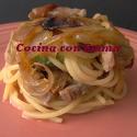 Espaguetis con lomo salteado