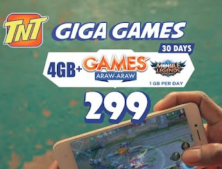 TNT Giga Games 299 – 4GB + 1GB Data/Day for ML, COC, AoV up to 30 Days