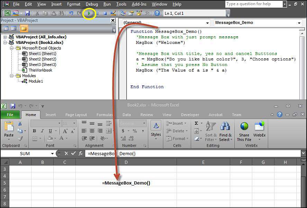"""Step 1 − The above Function can be executed either by clicking the """"Run"""" button on VBA Window or by calling the function from Excel Worksheet as shown in the following screenshot Shout4education"""