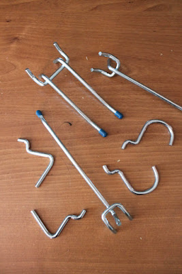 various sizes of pegboard hooks
