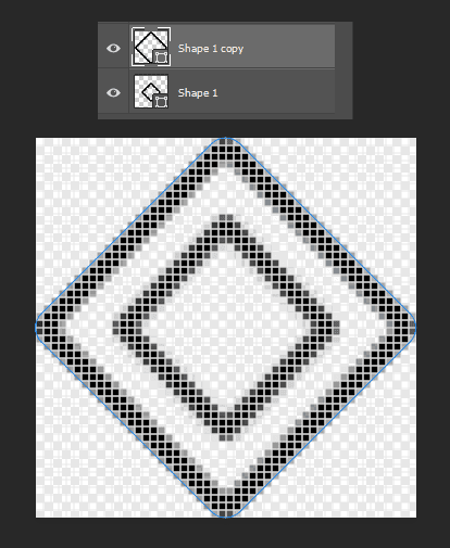 Membuat pola Pattern yang kedua hasil duplikat layer pertama