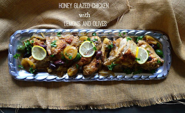 Honey Glazed Chicken with Lemon and Olives is filled with flavor and perfect for a family meal. Glazed with a bit of honey and the zest of lemon this is on regular rotation at our house. www.thisishowicook.com #chicken #recipes