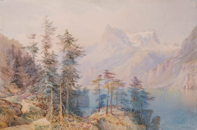 "Artwork, XIX century art, watercolours, ""Lake Lucerne"" by Nicholas Chevalier, 1883."