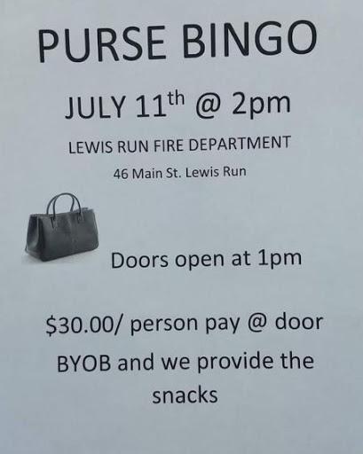 7-11 Lewis Run Fire Dept. Purse Bingo