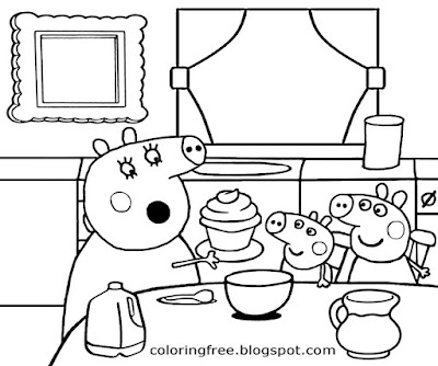 Cupcake cooking in the kitchen Peppa pig cartoon printable simple coloring pages for kids to color