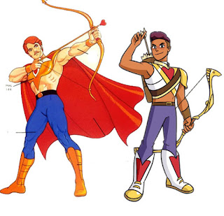 Example of the new and old Bow character designs and costumes. Both character's wear blue pants, boots, a crop top and have a heart on their chest. But the new Bow looks like he's wearing something more comfortable and covering to do archery in. The orginal Bow has this wierd metal crop top that just covers his pecks with this dangling sharp bit pointing down at his crotch, and his pants are so tight they look painted on. Whoever was in charge of the new design did a really awesome job of taking the heart of the design (pun intended) and making it seem like something someone might actually wear.