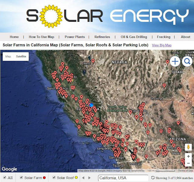 map of solar farms in California