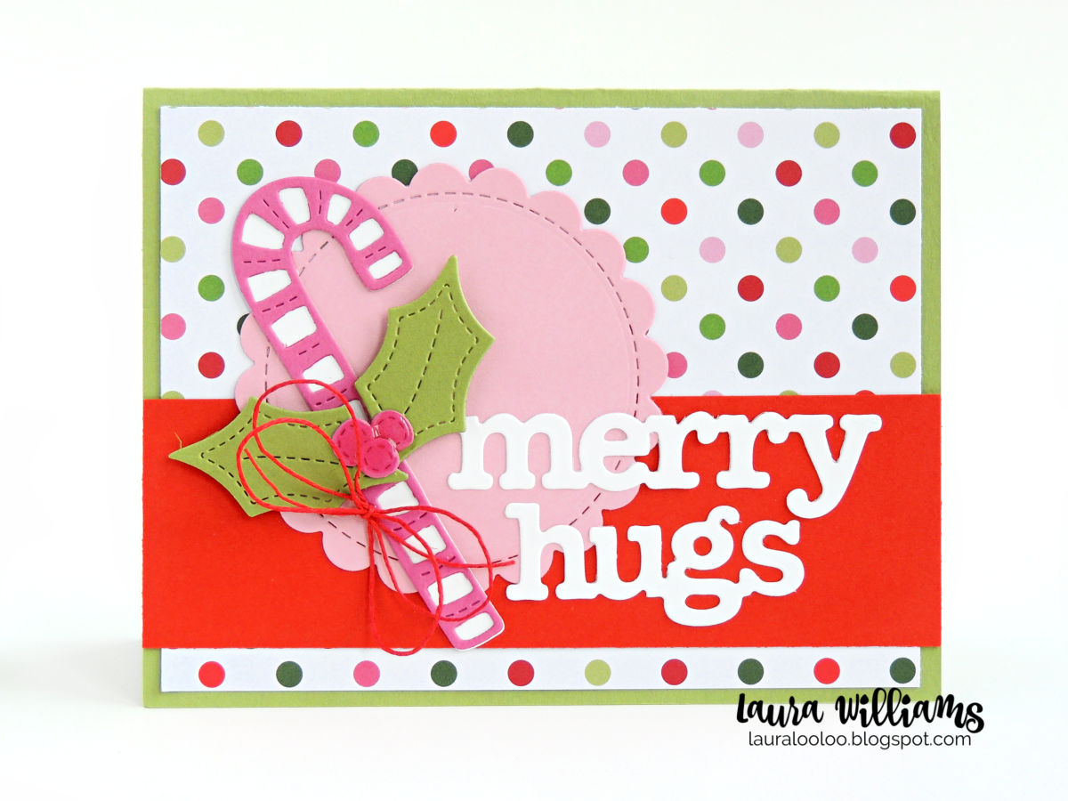 Merry Hugs! Craft a handmade Christmas card with die cut candy canes from Impression Obsession. The Primitive Candy and Holly Die Set is fun for homemade holiday crafts and cards. Click for ideas using this die set, on my blog!