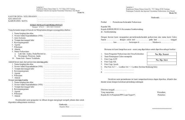 Format Surat Permohonan Kehendak Perkawinan terbaru