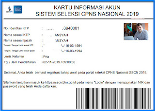 kartu informasi akun CPNS 2019