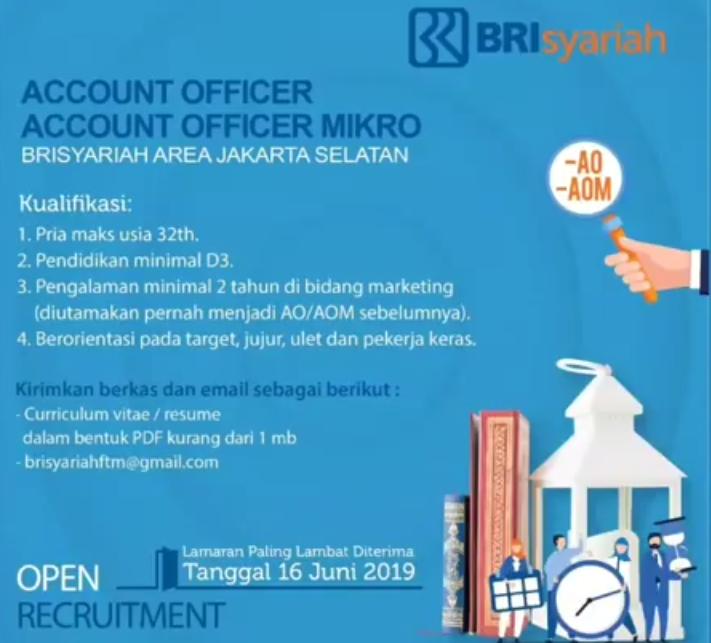 Penerimaan Pegawai PT Bank BRISyariah Tbk Bandung dan Jakarta Selatan