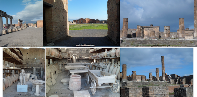 Viaje a Roma: Pompeya, Plaza principal, fábrica de tejidos, templo, almacenes...