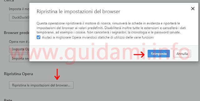Impostazione per Ripristinare Opera browser