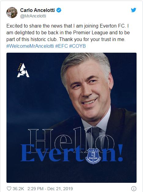 Carlo Ancelotti Tweet Post