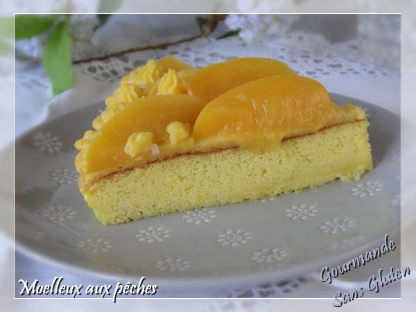 Moelleux aux pêches sans gluten (gâteau facile à la maïzena)