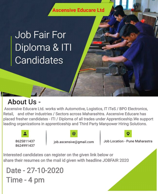 Ascensive Educare Ltd Conducting A Online Job fair for ITI & Diploma Job Seekers, on 27th Oct 2020 Register Now