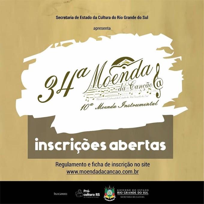 Estão abertas as inscrições para o 34° festival Moenda da Canção e 10° festival Moenda Instrumental