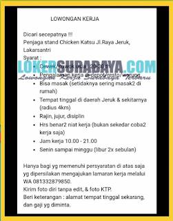 Tantangan Kerja di Chiken Katsu Surabaya Terbaru Juni 2019