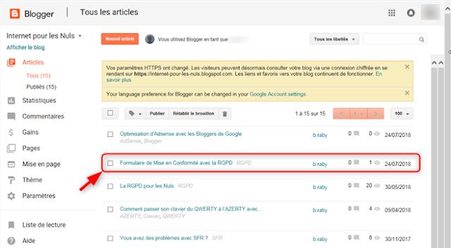 Blogger - Statistiques d'un article publié