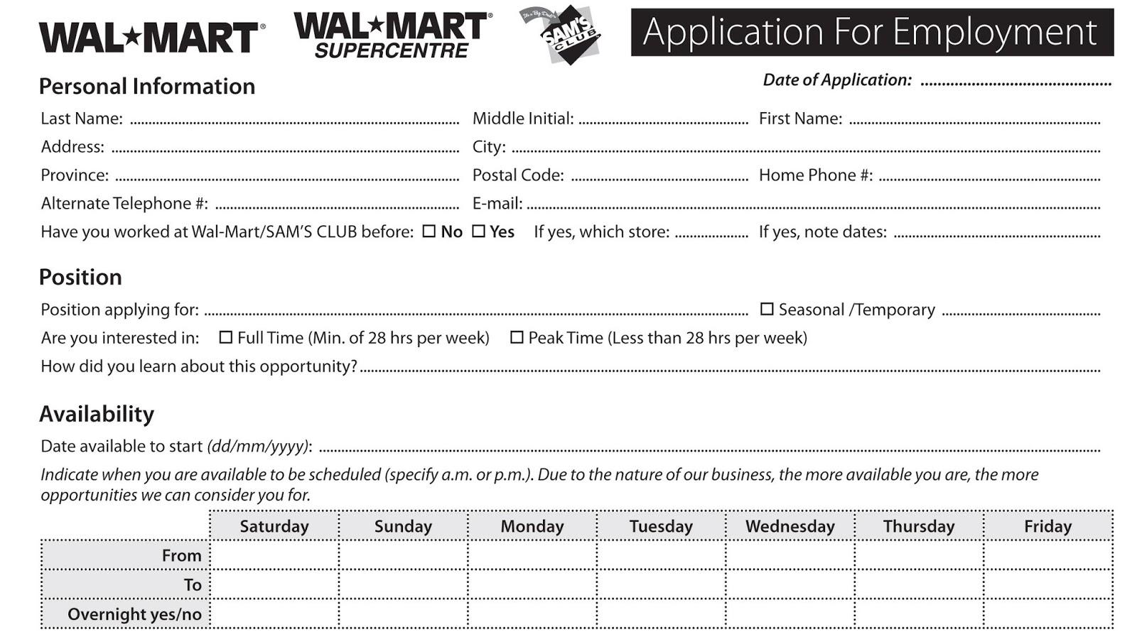 walmart online job application for employment excel template