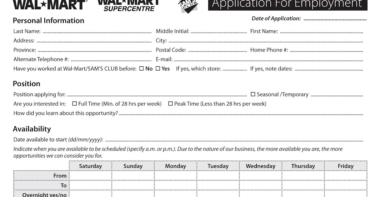 Walmart Online Job Application For Employment  Excel Template