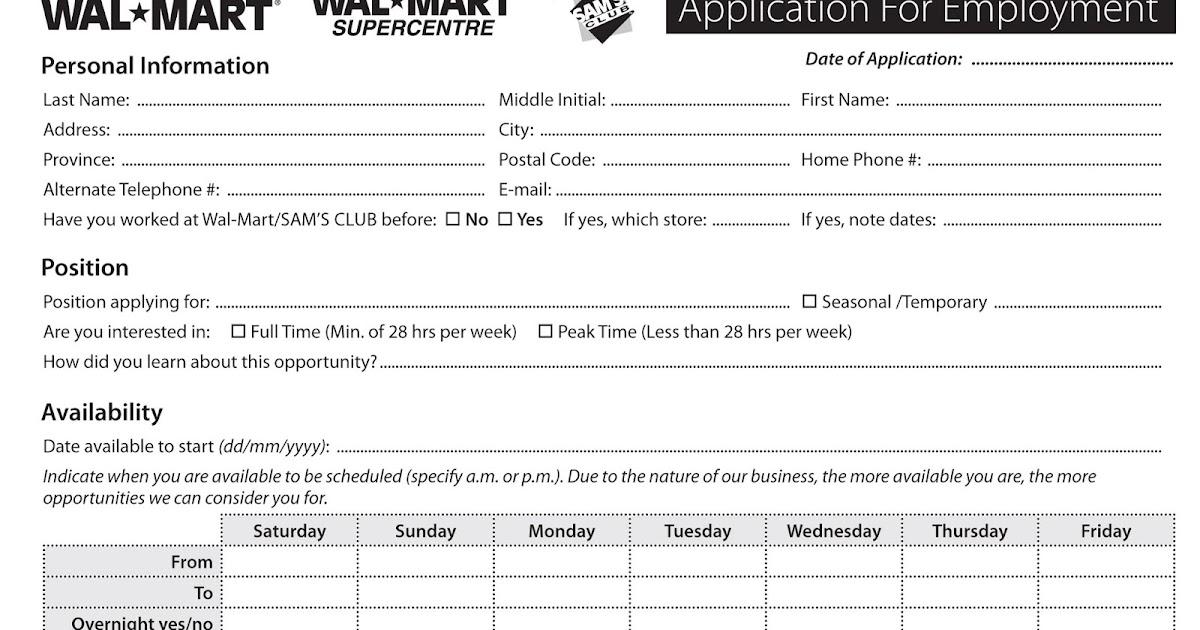 Walmart Online Job Application For Employment - Excel Template