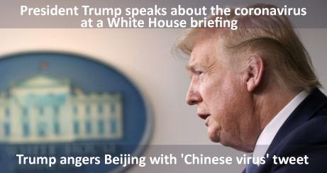 Trump enfurece a Beijing con un tuit de virus chino.