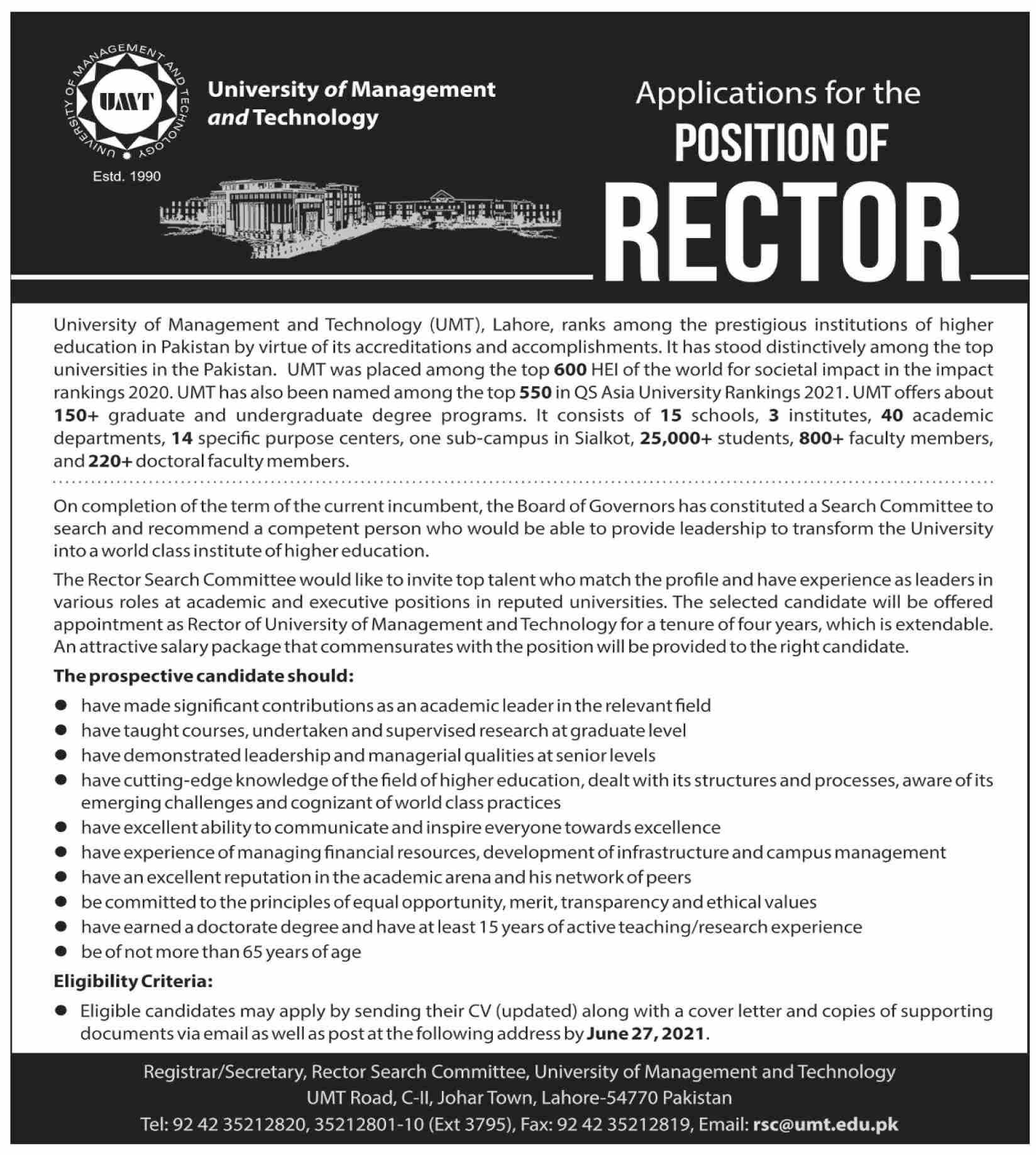 rsc@umt.edu.pk - University Of Management And Technology (UMT) Jobs 2021 in Pakistan