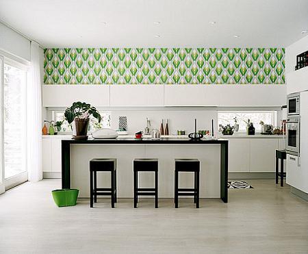 Dekorasi Dapur Dengan Walpaper Hijau