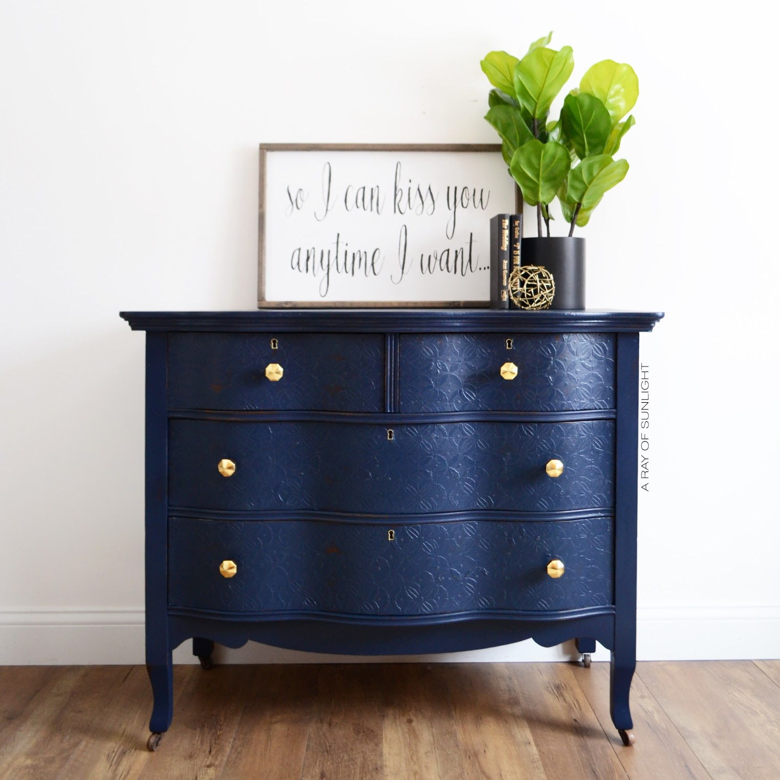 Navy Blue Antique Serpentine Dresser With Embossed Drawers And Gold  Geometric Knobs   Painted In Country