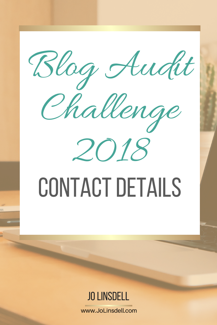 Blog Audit Challenge: Contact Details #blogging #BlogAuditChallenge2018