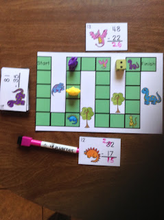 2 Digit Subtraction Regrouping Dinosaurs Task Cards