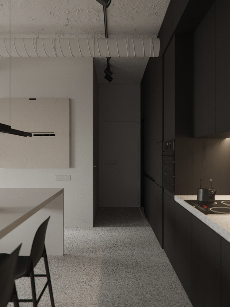 Contemporary kitchen with black cabinetry