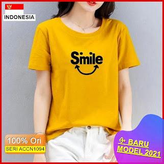 ACCN1094 ATASAN KAOS WANITA TSHIRT WIDIH SMILE ME LD 90 P 57 BARU 2021