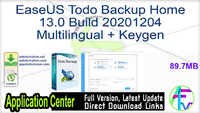 EaseUS Todo Backup Home 13.0 Build 20201204 Multilingual + Keygen