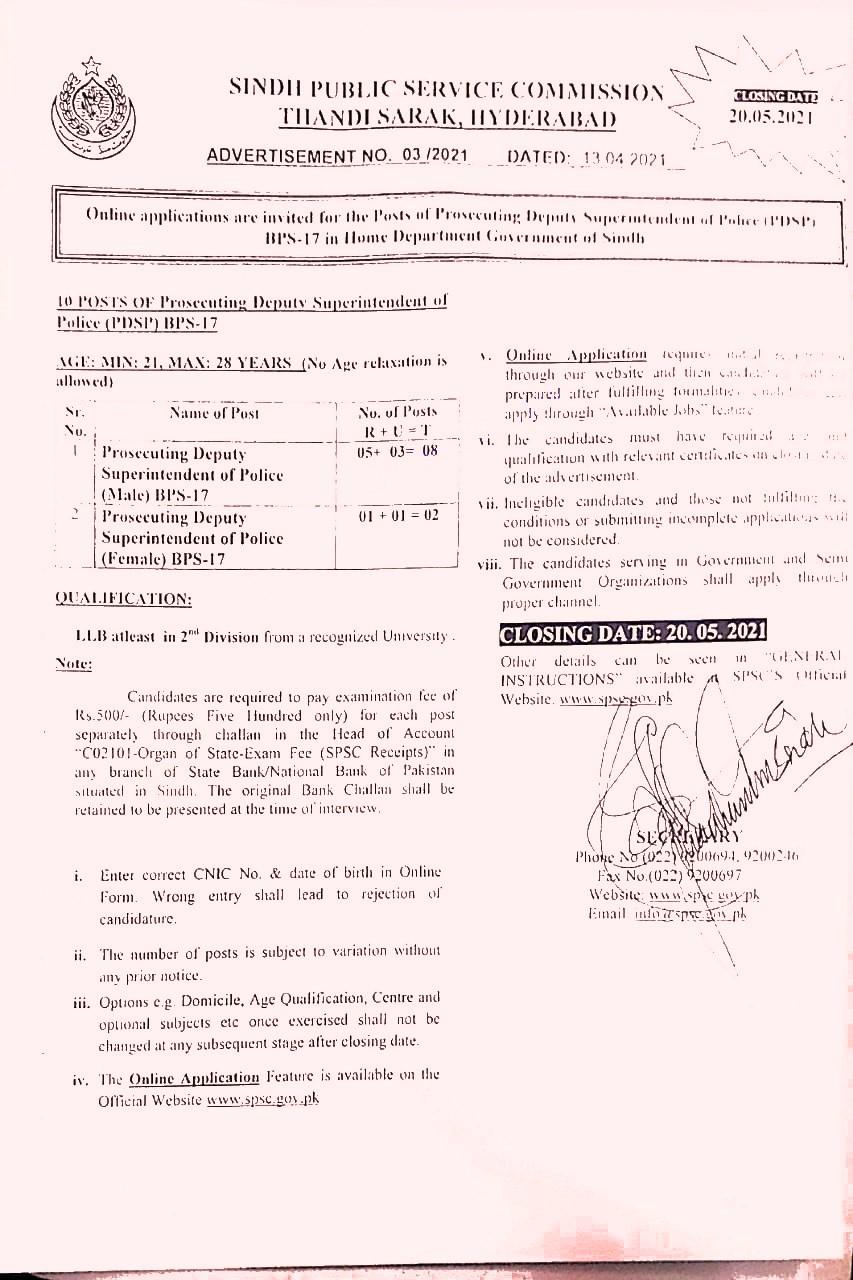 SPSC Sindh Public Service Commission latest Jobs 2021