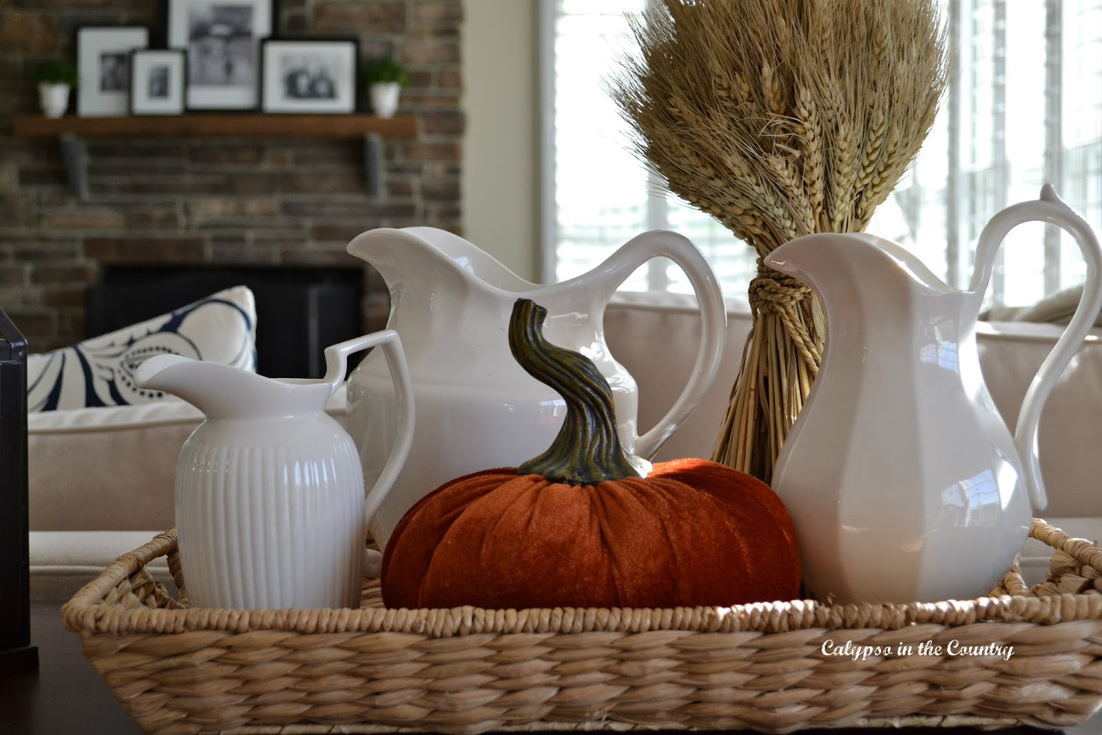 Festive Fall Vignette with White Pitchers